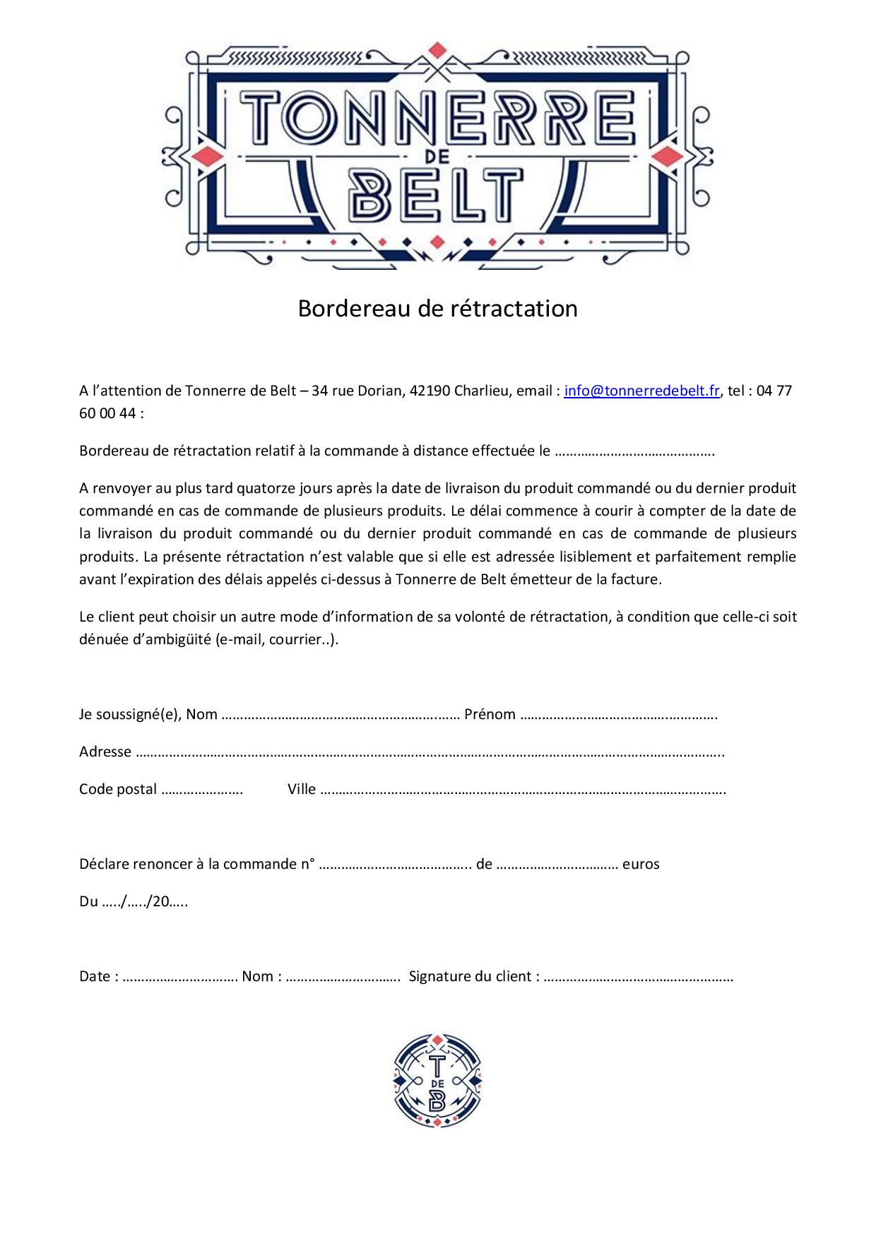 bordereau de rétractation tonnerre de belt